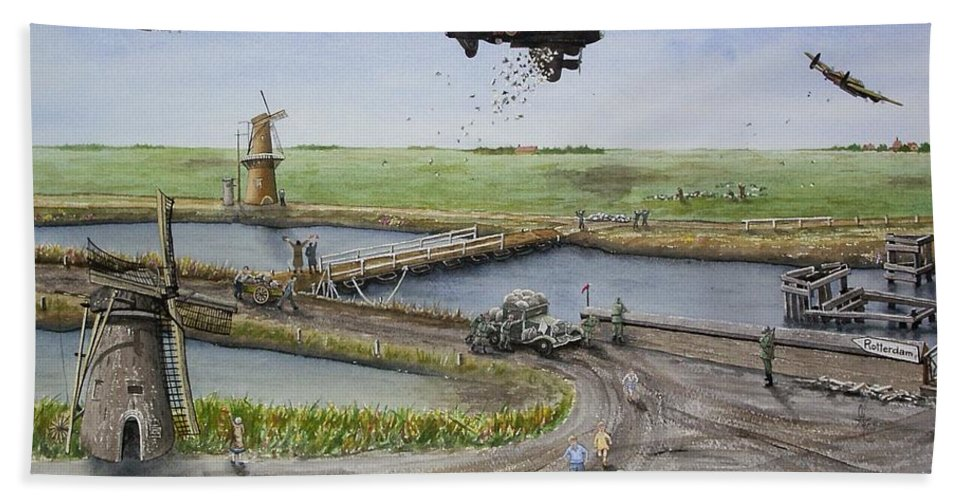 Lancaster Bomber Hand Towel featuring the painting Operation Manna IIi by Gale Cochran-Smith