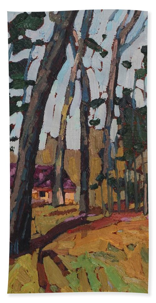2045 Bath Sheet featuring the painting Opinicon Cabin Through The Oaks by Phil Chadwick