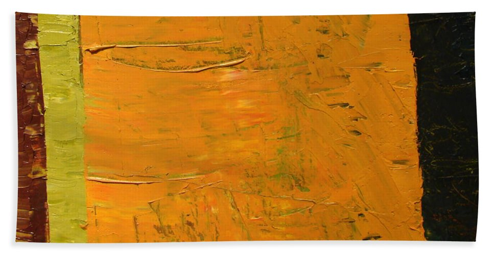 Red Hand Towel featuring the painting Orange And Brown by Michelle Calkins