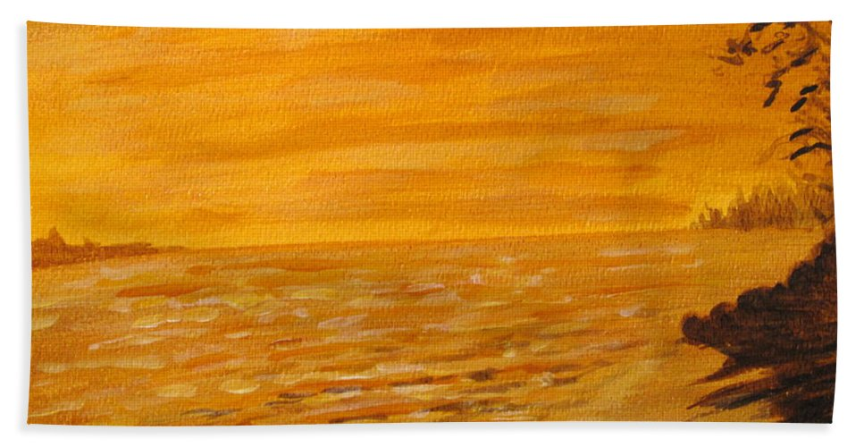 Ocean Hand Towel featuring the painting Orange Beach by Ian MacDonald