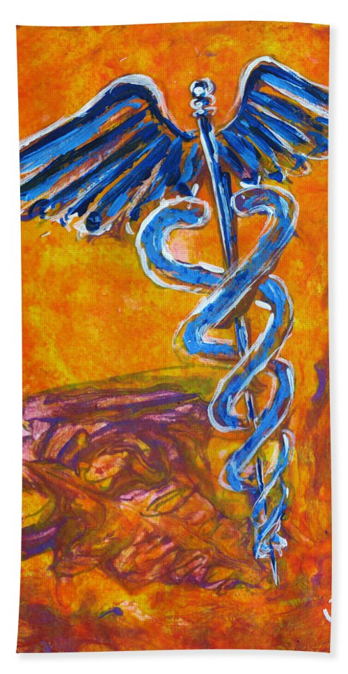 Medical Bath Sheet featuring the painting Orange Blue Purple Medical Caduceus Thats Atmospheric And Rising With Mystery by M Zimmerman