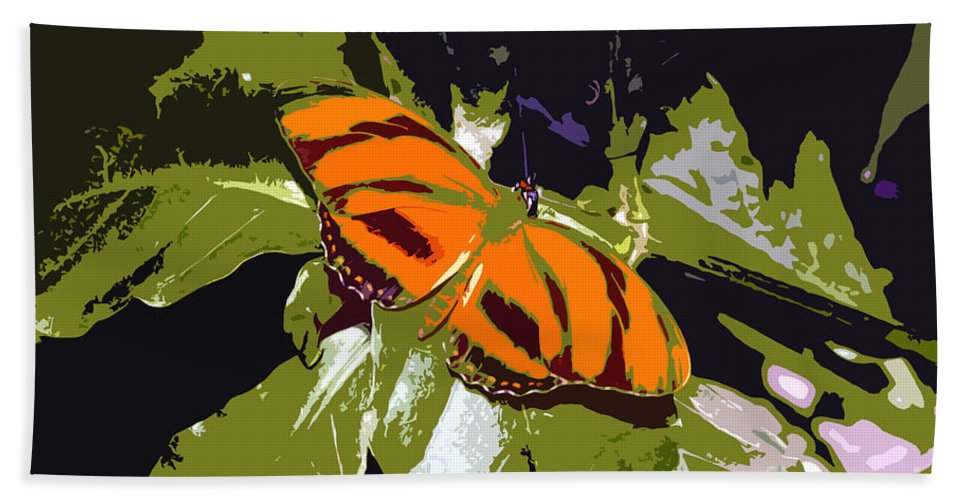 Butterfly Hand Towel featuring the photograph Orange Butterfly by David Lee Thompson