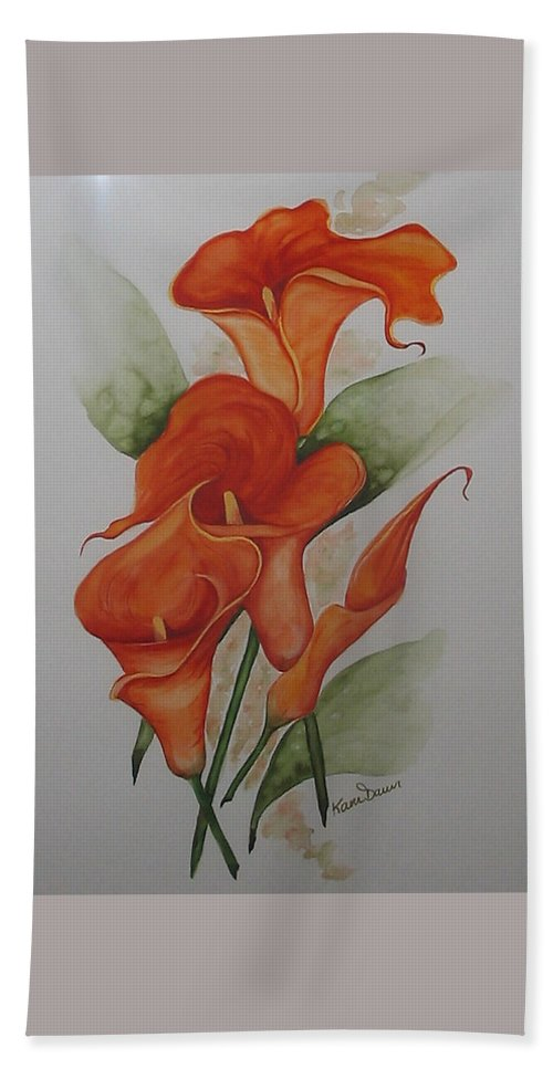 Floral Orange Lily Bath Sheet featuring the painting Orange Callas by Karin Dawn Kelshall- Best