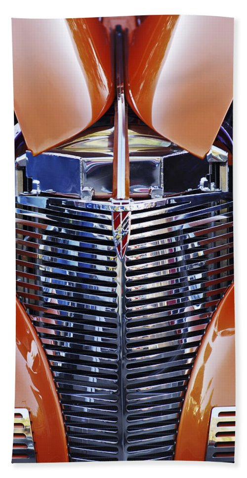 Classic Car Hand Towel featuring the photograph Orange Chevrolet Grille by Jill Reger