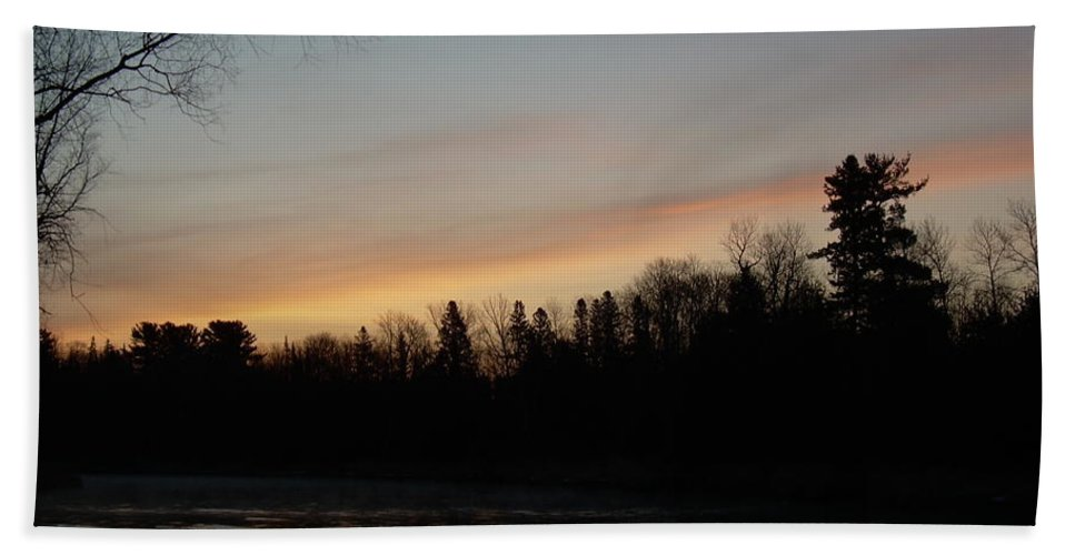 Clouds Hand Towel featuring the photograph Orange Clouds Mississippi River Dawn by Kent Lorentzen
