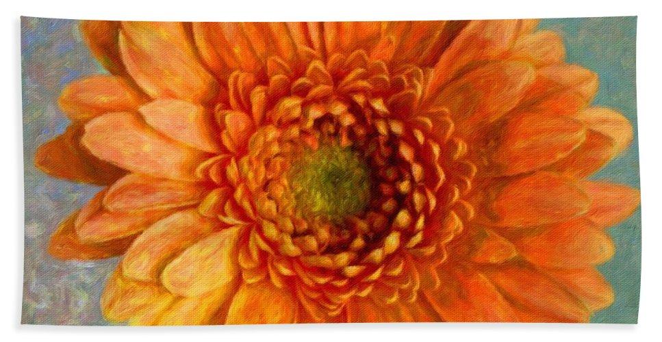 Orange Hand Towel featuring the digital art Orange Color Stroke Gerber Daisy by Tamera Pike