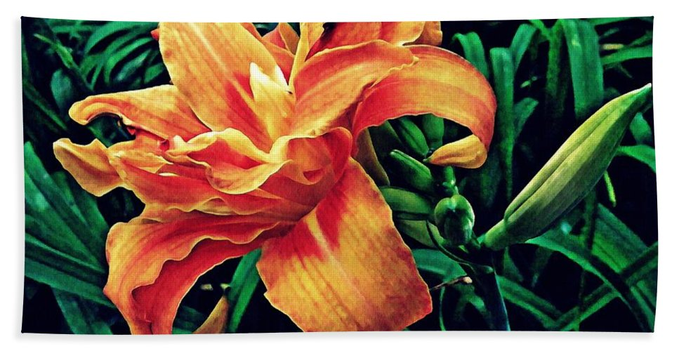 Lily Hand Towel featuring the photograph Orange Frenzy by Sarah Loft