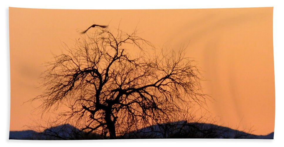 Sunset Bath Sheet featuring the photograph Orange Glow Sunset In The Desert by Teresa Stallings