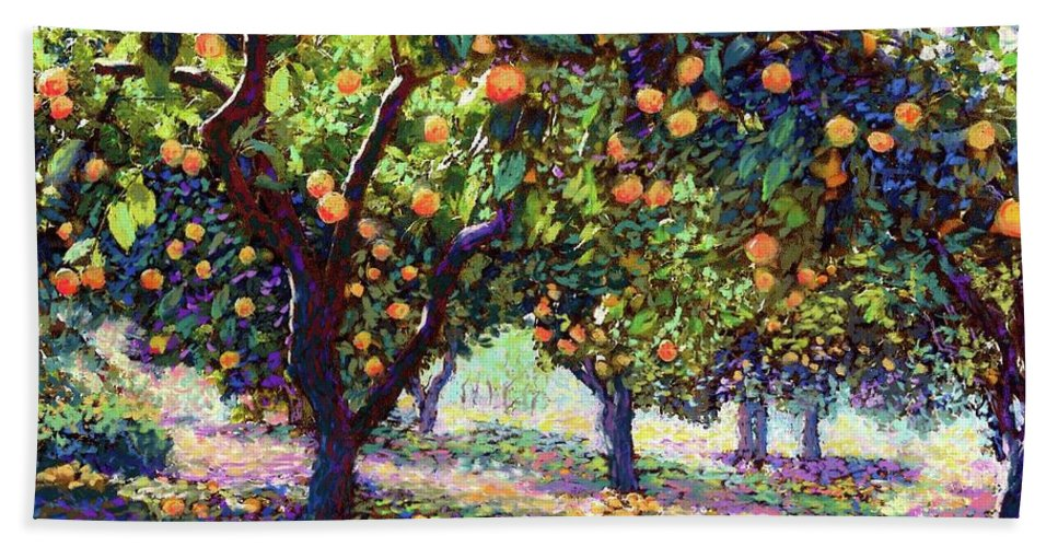 Orange Hand Towel featuring the painting Orange Grove Of Citrus Fruit Trees by Jane Small
