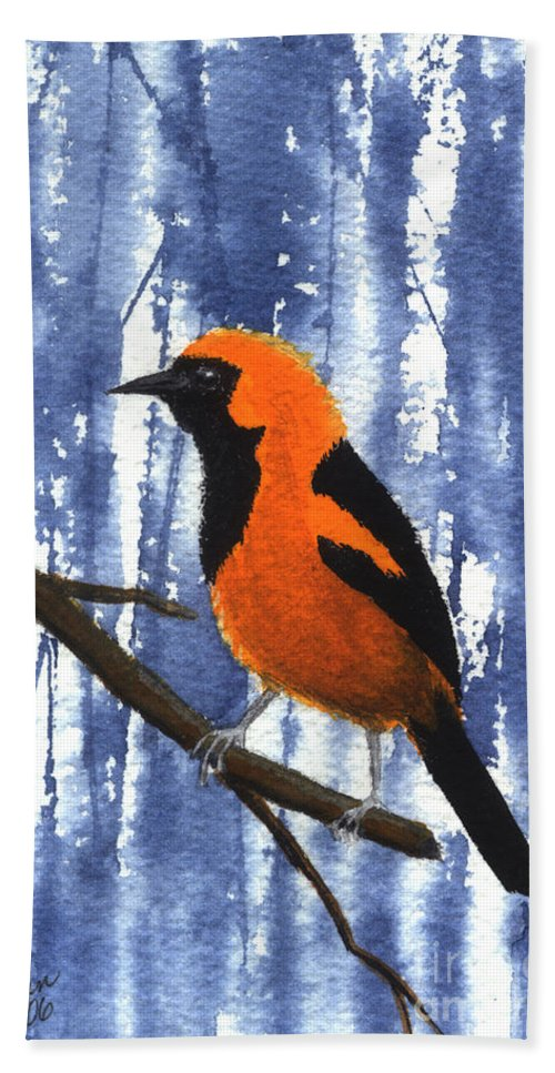 Bird Hand Towel featuring the painting Orange-headed Oriole by Lynn Quinn