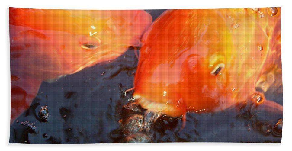 Koi Bath Sheet featuring the photograph Orange Kiss by Irina Davis