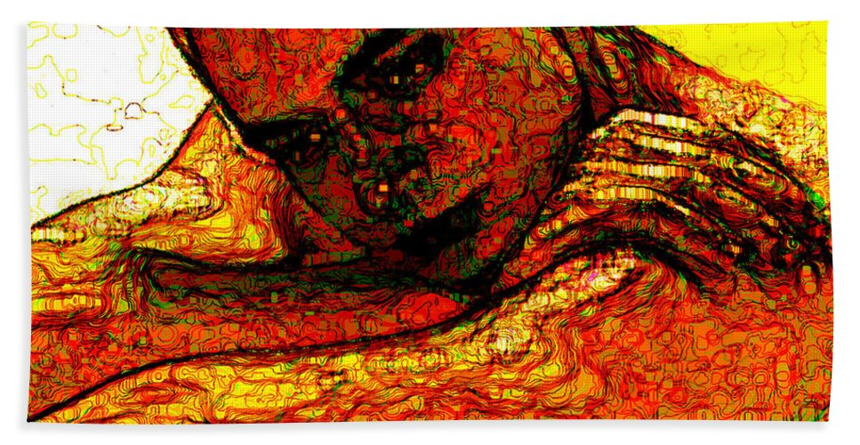 Man Bath Sheet featuring the digital art Orange Man by Stephen Lucas