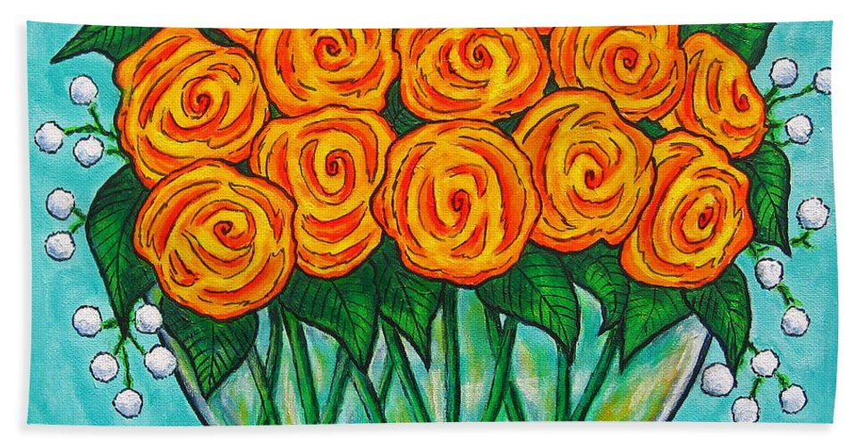 Orange Bath Towel featuring the painting Orange Passion by Lisa Lorenz