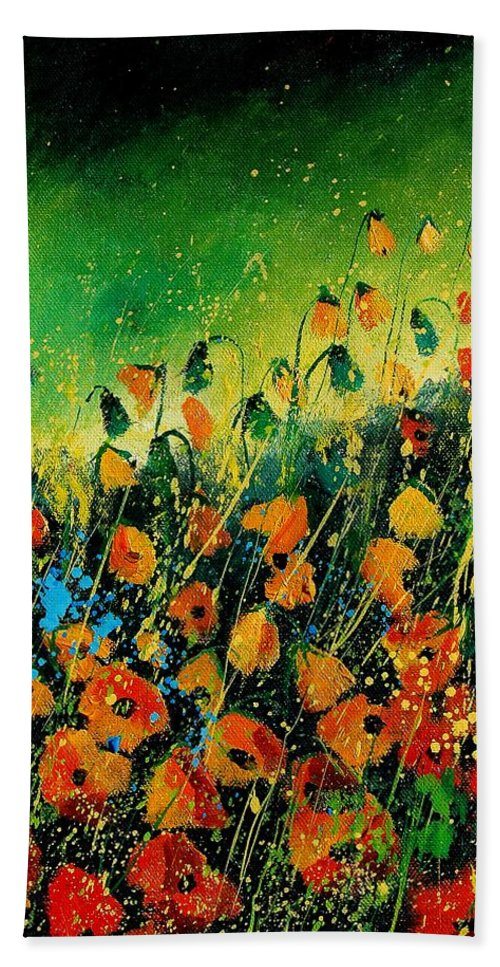 Poppies Bath Towel featuring the painting Orange Poppies 459080 by Pol Ledent