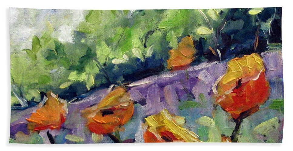 Art Bath Sheet featuring the painting Orange Poppies by Richard T Pranke