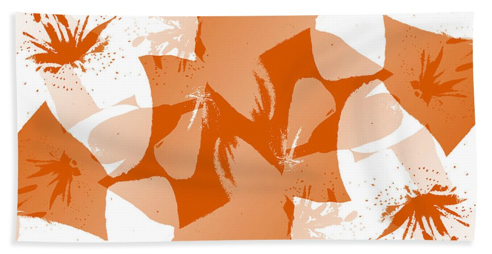 Botanical Hand Towel featuring the digital art Orange Poster Lilies by Ruth Palmer