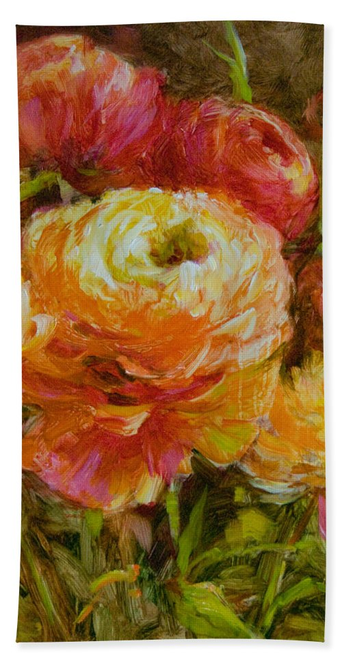 Flowers Bath Sheet featuring the painting Orange Ranunculus by Tracie Thompson