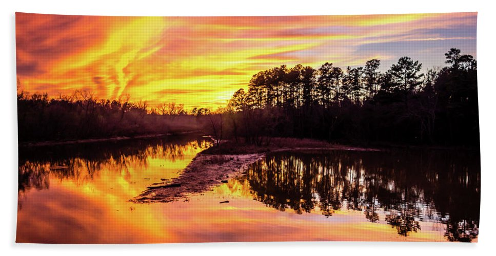 Sunset Bath Sheet featuring the photograph Orange Sunset Over Lake by Alex Grichenko