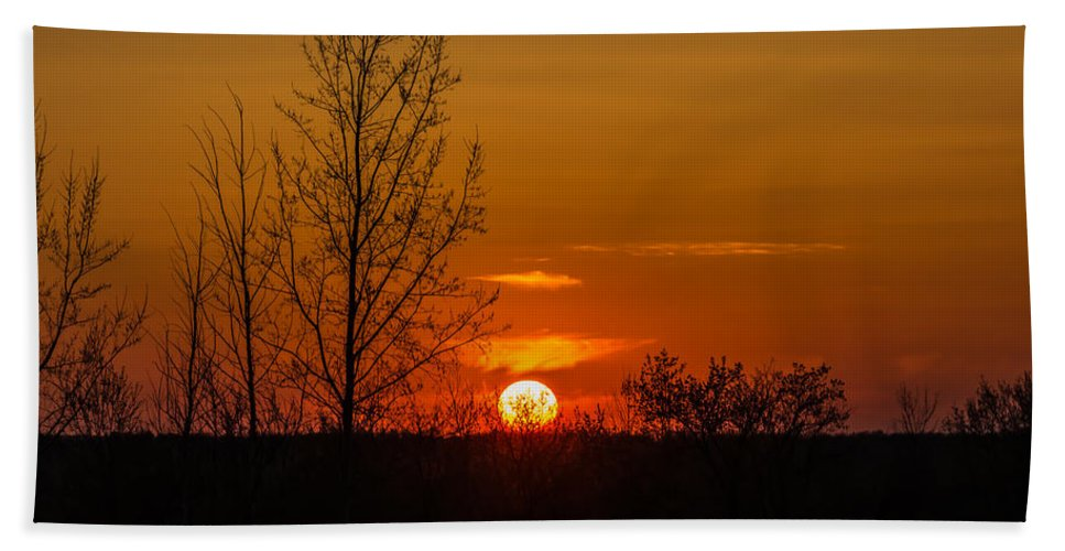 R3d Photography Hand Towel featuring the photograph Orange Sunset Through The Trees by Ray Sheley