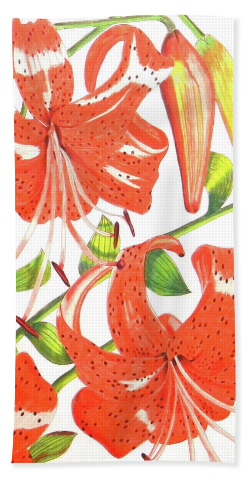 Orange Tiger Lily Bath Sheet featuring the drawing Orange Tiger Lilies by Laura Wilson