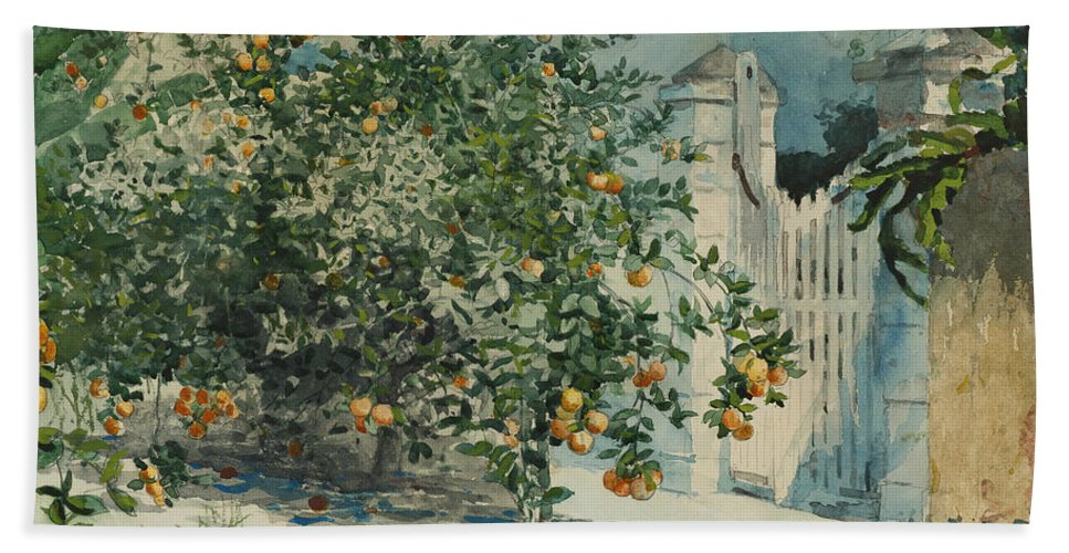 19th Century American Painters Hand Towel featuring the painting Orange Trees And Gate by Winslow Homer