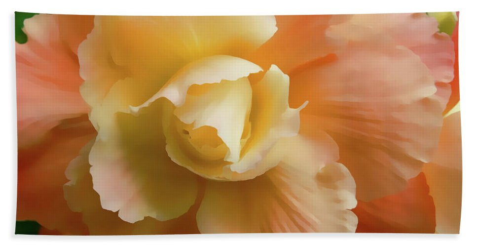Begonia Bath Sheet featuring the photograph Orange Yellow Begonia Flower by Jennie Marie Schell