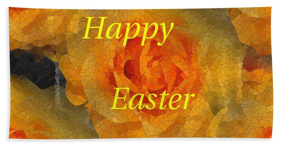 Easter Bath Sheet featuring the digital art Orange You Lovely Easter by Tim Allen