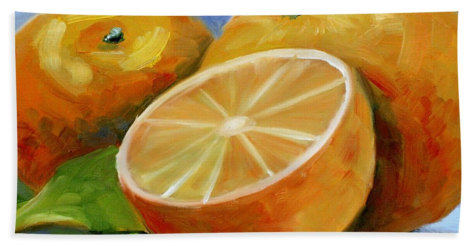 Fruit Bath Sheet featuring the painting Oranges by Lewis Bowman