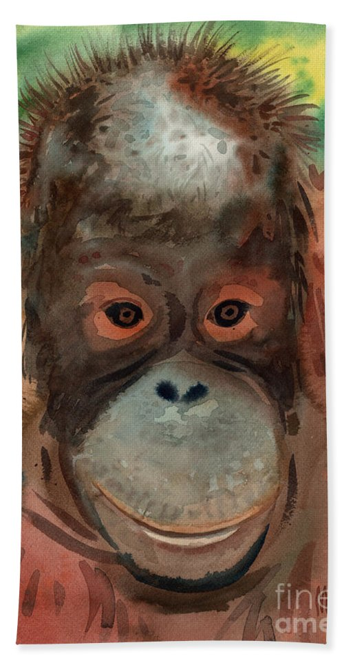 Orangutans Hand Towel featuring the painting Orangutan by Donald Maier