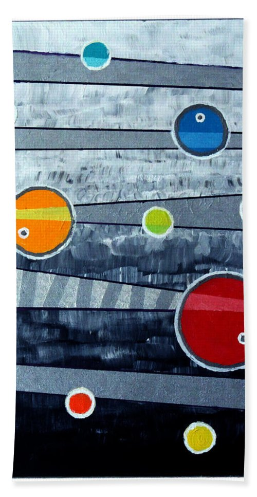 Acrylic Bath Sheet featuring the painting Orbs On Planes #3 by Jeremy Aiyadurai