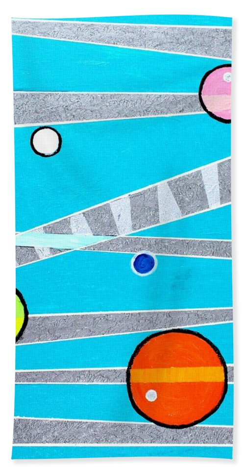 Acrylic Bath Sheet featuring the painting Orbs On Planes by Jeremy Aiyadurai