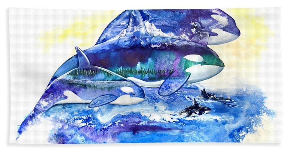 Orca Bath Sheet featuring the painting Orca Fantasy by Sherry Shipley