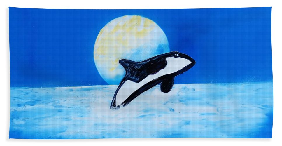 Hand Towel featuring the painting Orca by Mario Carta