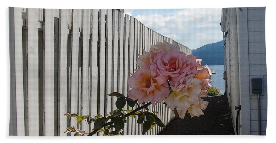 Rose Bath Towel featuring the photograph Orcas Island Rose by Tim Nyberg