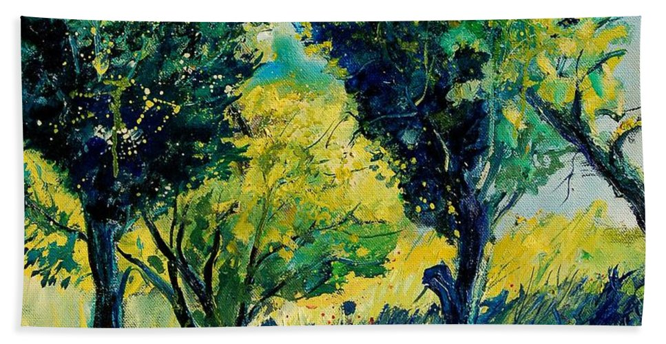 Tree Bath Towel featuring the painting Orchard 562 by Pol Ledent