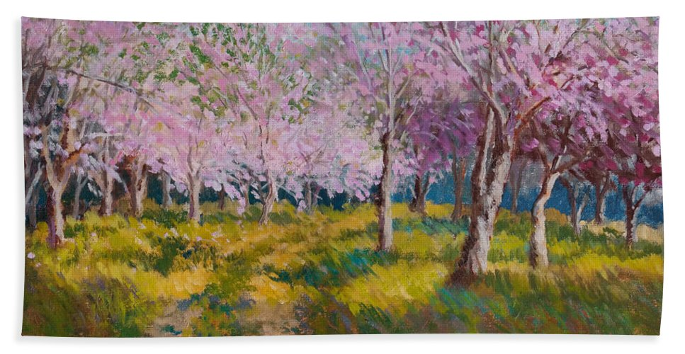 Impressionism Bath Sheet featuring the painting Orchard Light by Keith Burgess