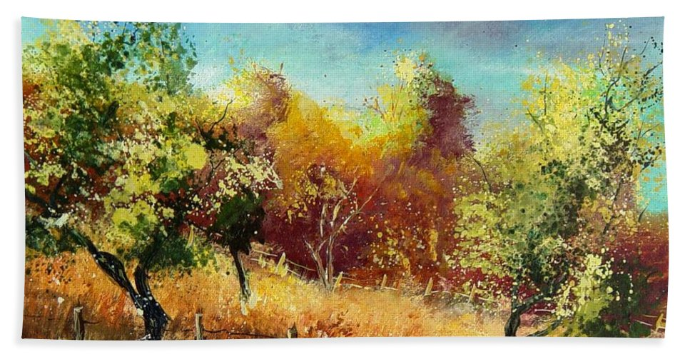Flowers Hand Towel featuring the painting Orchard by Pol Ledent