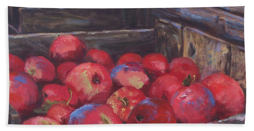 Apples Bath Towel featuring the painting Orchard's Harvest by Alicia Drakiotes