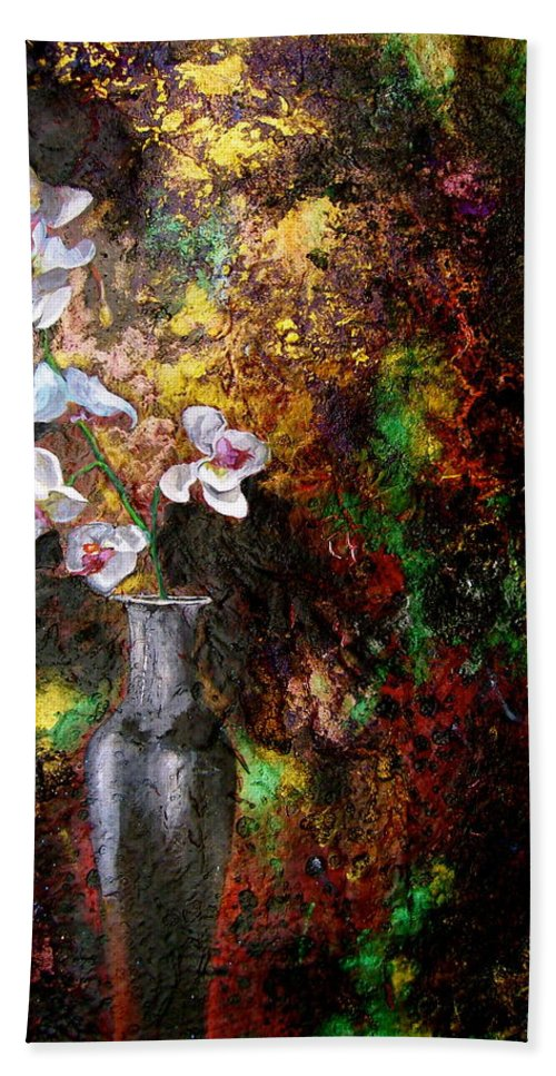 Orchid Art Beautiful Art Bath Sheet featuring the painting Orchid 1 by Laura Pierre-Louis