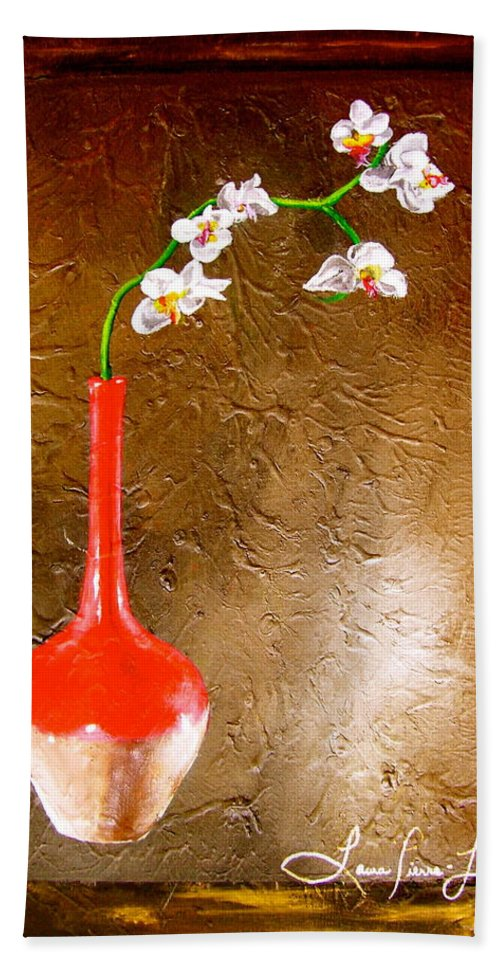Orchid Art Beautiful Art Hand Towel featuring the painting Orchid 3 by Laura Pierre-Louis