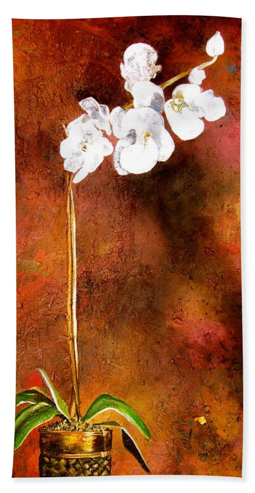 Orchid Painting Bath Sheet featuring the painting Orchid 4 by Laura Pierre-Louis