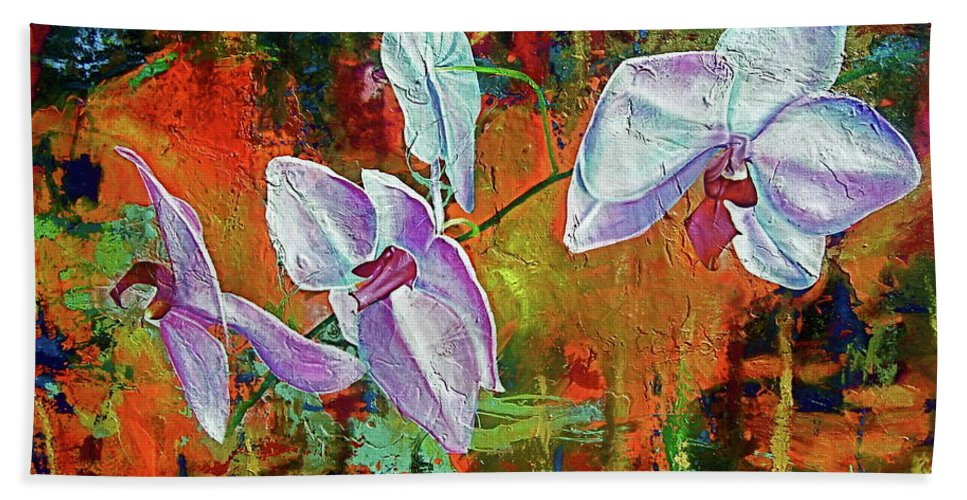 Flowers Bath Sheet featuring the painting Orchid A by Laura Pierre-Louis