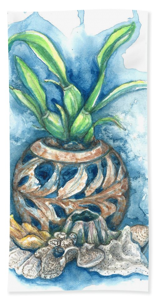 Orchid Bath Towel featuring the painting Orchid And Barnacle by Ashley Kujan