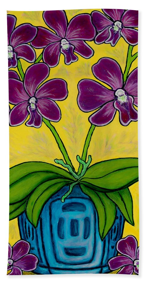 Orchids Bath Towel featuring the painting Orchid Delight by Lisa Lorenz