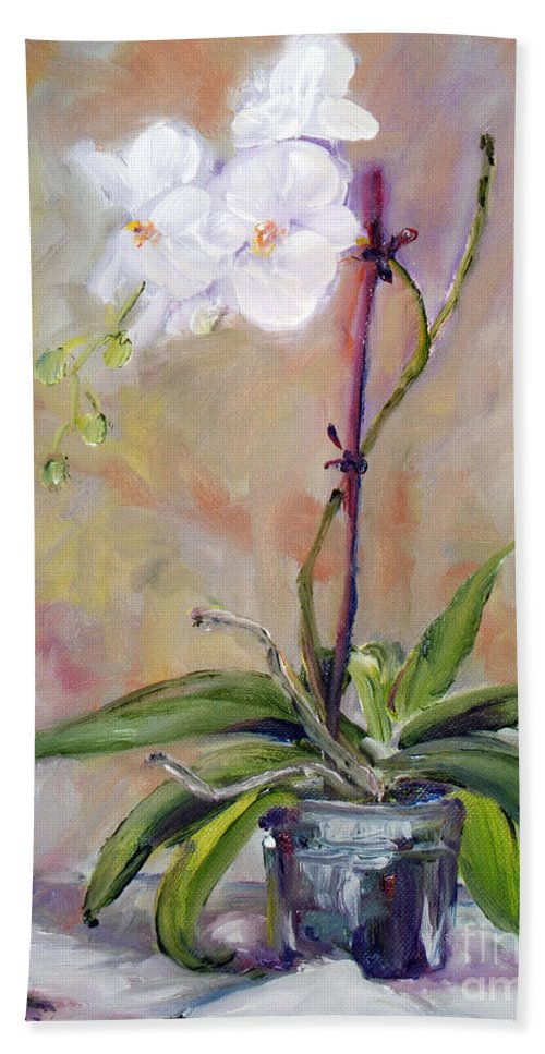 Hand Towel featuring the painting Orchid In White 3 by Frank Hoeffler