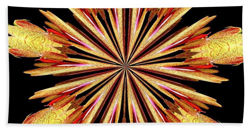 Orchid Kaleidoscope 10 Bath Sheet featuring the mixed media Orchid Kaleidoscope 10 by Rose Santuci-Sofranko