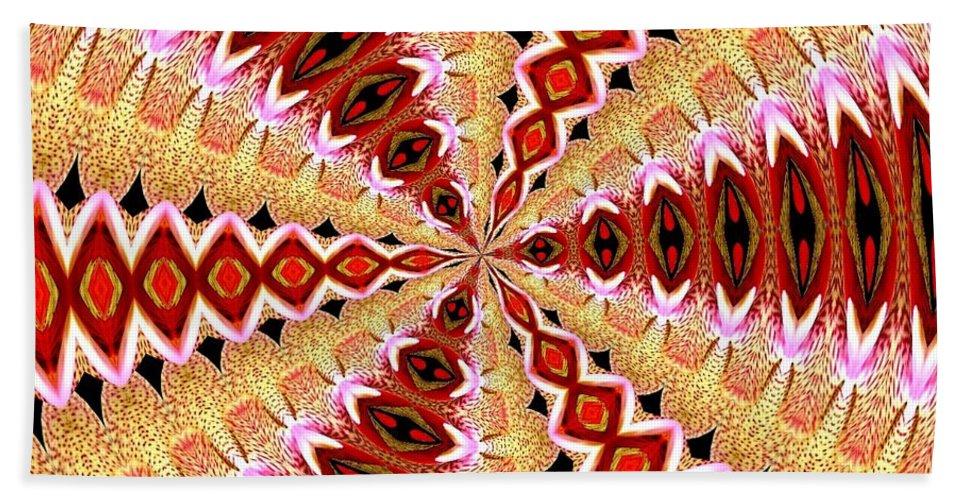 Orchid Kaleidoscope 8 Bath Sheet featuring the mixed media Orchid Kaleidoscope 8 by Rose Santuci-Sofranko