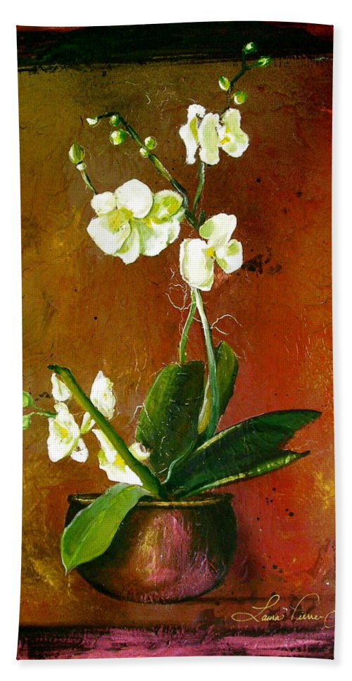 Orchid Art Beautiful Art Bath Sheet featuring the painting Orchid by Laura Pierre-Louis