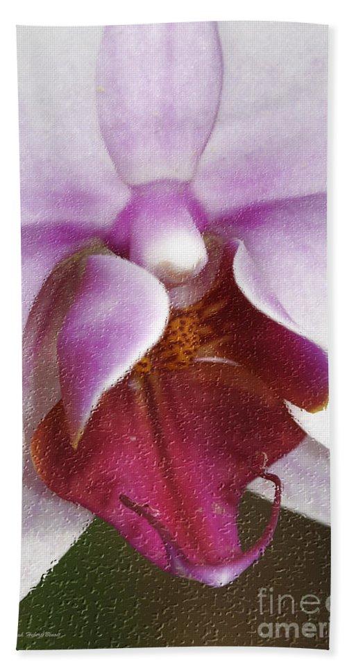 Orchid Hand Towel featuring the photograph Orchid Portrait In Craquelure by Deborah Benoit