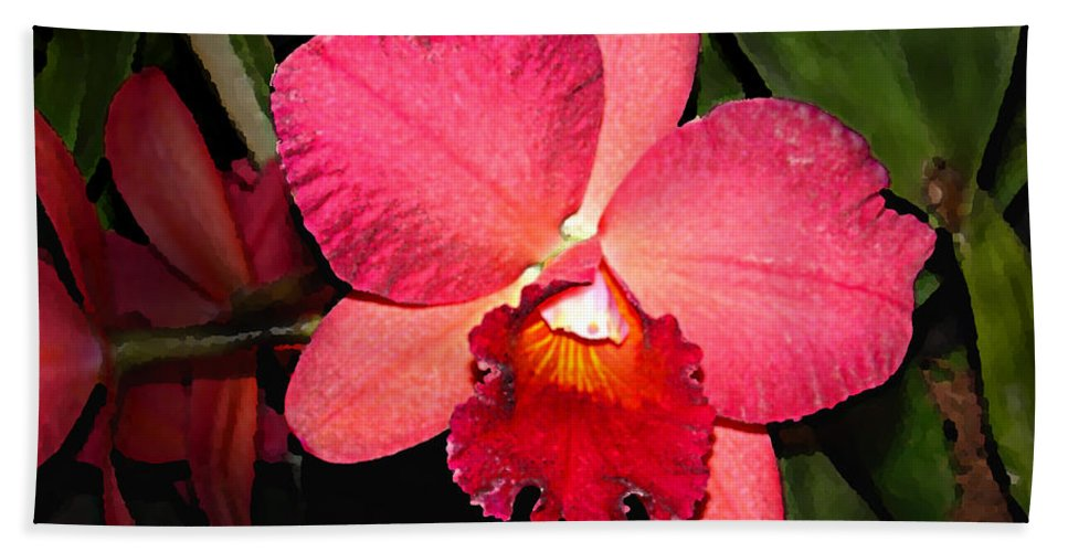 Digital Painting And Photography Bath Sheet featuring the photograph Orchid by Steve Karol